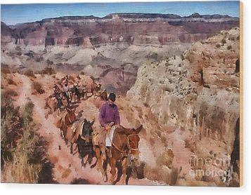 Grand Canyon Mule Packtrain Wood Print