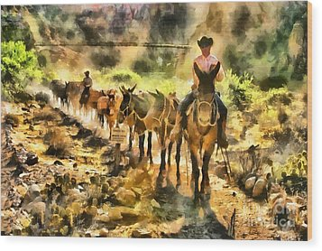 Grand Canyon Mules At The River Wood Print