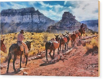 Grand Canyon Mules Heading Up The South Kaibab Trail Wood Print
