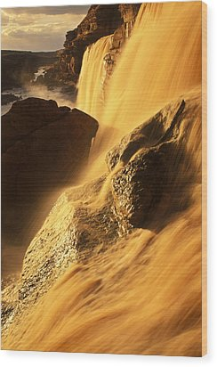 Grand Falls Of The Little Colorado Wood Print by Ralph Lee Hopkins