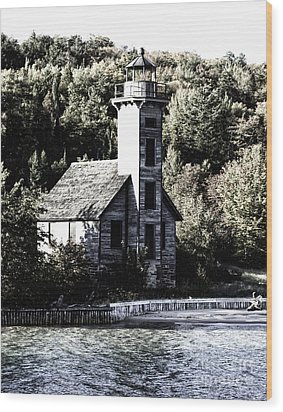 Grand Island Lighthouse Wood Print by Anne Raczkowski