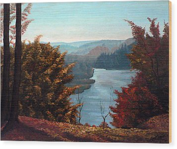 Grand River Look-out Wood Print by Hanne Lore Koehler
