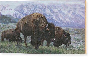 Grand Teton Bison Wood Print by Deb LaFogg-Docherty