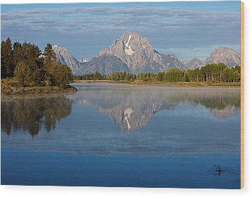 Grand Teton Morning Wood Print by Johan Elzenga
