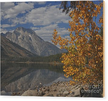 Grand Teton National Park Fall Cloud Mountain Reflections Wood Print by Nature Scapes Fine Art