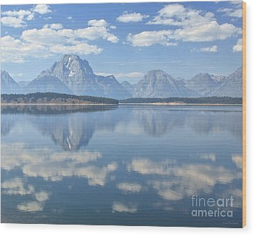 Grand Teton National Park Mountain Lake Reflctions Wood Print by Nature Scapes Fine Art