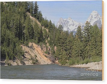Wood Print featuring the photograph Grand Tetons From Snake River by Living Color Photography Lorraine Lynch