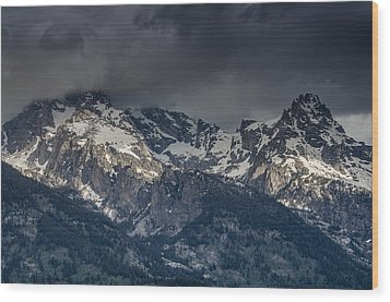 Grand Tetons Immersed In Clouds Wood Print by Greg Nyquist
