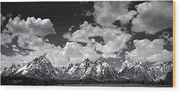 Grand Tetons Panorama In Monochrome Wood Print