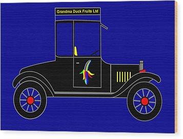 Grandma Duck Fruits Ltd - Virtual Car Wood Print by Asbjorn Lonvig