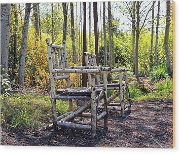 Grandmas Country Chairs Wood Print by Athena Mckinzie