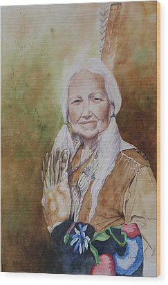 Grandmother Many Horses Wood Print