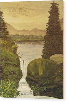 Grandpa Mountain Wood Print by Mitzi Foreman