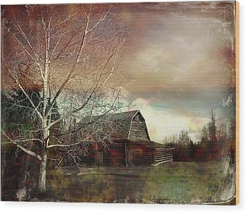 Grandpa's Barn Wood Print by Shirley Sirois