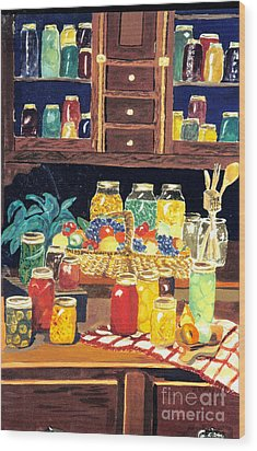 Wood Print featuring the painting Granny's Cupboard by Julie Brugh Riffey