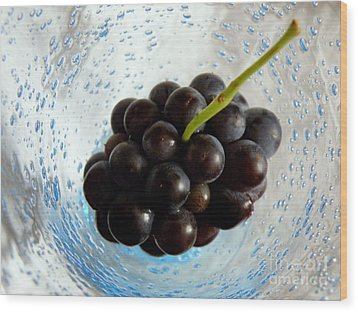 Grape Cluster In Biot Glass Wood Print by Lainie Wrightson