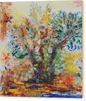 Wood Print featuring the painting Grape Tree by Karen Fleschler