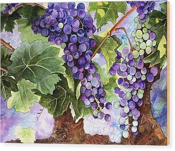 Grape Vines Wood Print by Karen Casciani