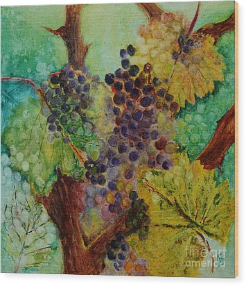 Wood Print featuring the painting Grapes And Leaves V by Karen Fleschler