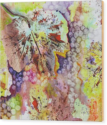Wood Print featuring the painting Grapes And Leaves Vi by Karen Fleschler
