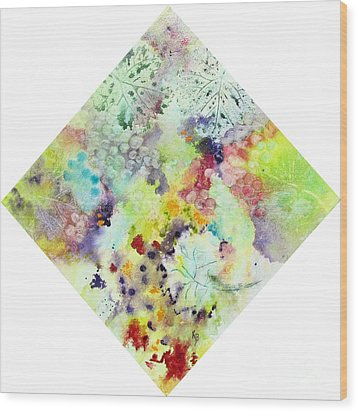 Wood Print featuring the painting Grapes And Leaves Vii by Karen Fleschler