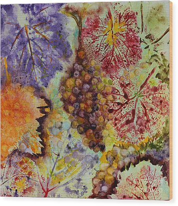 Wood Print featuring the painting Grapes And Leaves Viii by Karen Fleschler