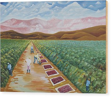 Grapes Farmers Wood Print by Johnny Otilano