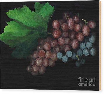 Grapes In Black Wood Print by Casey DiDonato