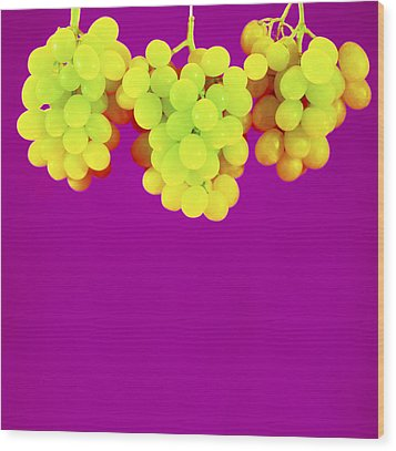 Grapes Wood Print by Johnny Greig