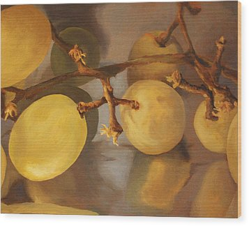 Grapes On Foil Wood Print
