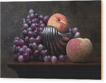 Grapes With Peaches Wood Print by Tom Mc Nemar