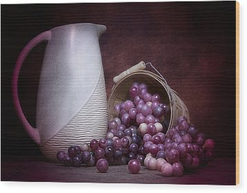 Grapes With Pitcher Still Life Wood Print by Tom Mc Nemar