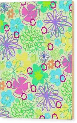 Graphic Flowers Wood Print by Louisa Knight