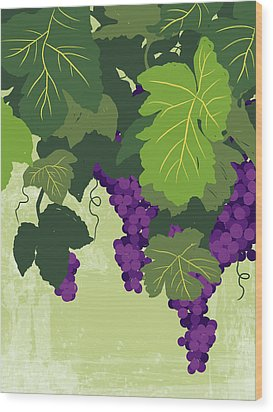 Graphic Illustration Of Wine Grapes On The Vine Wood Print by Don Bishop