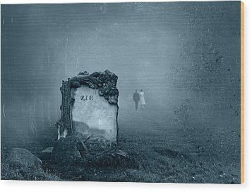 Grave In A Forest Wood Print by Jaroslaw Grudzinski