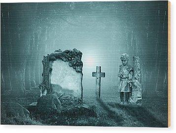 Graves In A Forest Wood Print by Jaroslaw Grudzinski