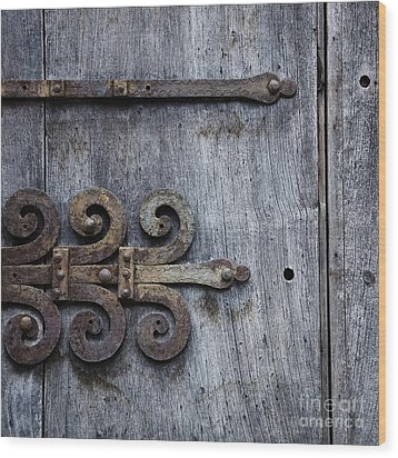 Wood Print featuring the photograph Gray Wooden Doors With Ornamental Hinge by Agnieszka Kubica