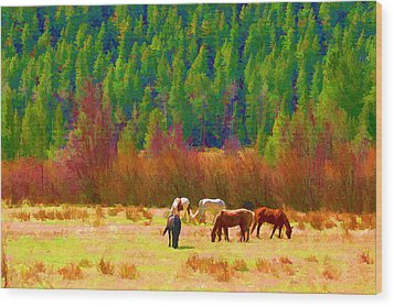 Wood Print featuring the digital art Grazing by Brian Davis