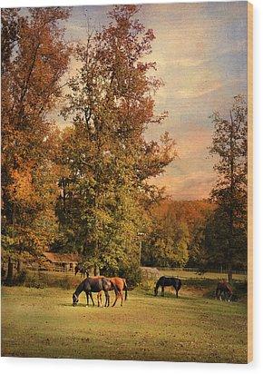Grazing In Autumn Wood Print by Jai Johnson