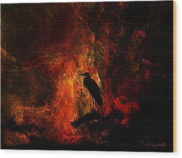 Great Blue Heron Looking At The Sunrise Wood Print by J Larry Walker