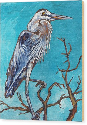 Great Blue Heron Wood Print by Sandy Tracey