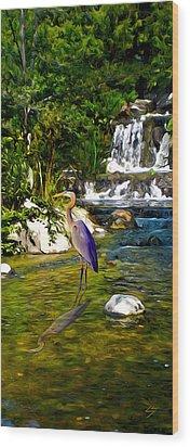 Great Blue Heron Wood Print by Sotiri Catemis