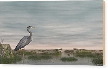 Wood Print featuring the digital art Great Blue Heron by Walter Colvin