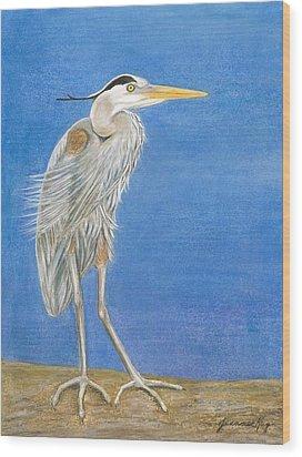 Great Blue Heron Windy Day Wood Print by Jeanne Kay Juhos