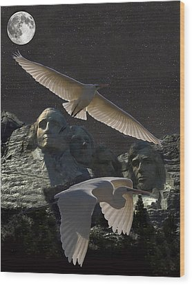 Great Egrets Mount Rushmore  Wood Print by Eric Kempson