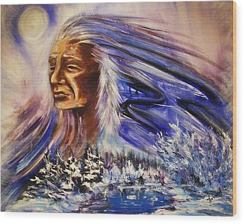 Wood Print featuring the painting Great Father - Winter by Karen  Ferrand Carroll