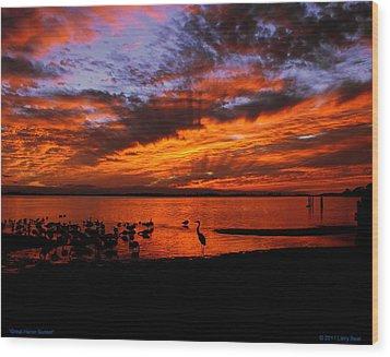 Great Heron Sunset Wood Print