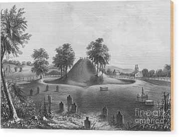 Great Mound At Marietta, 1848 Wood Print by Photo Researchers