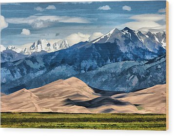 Wood Print featuring the digital art Great Sand Dunes Summer by Brian Davis
