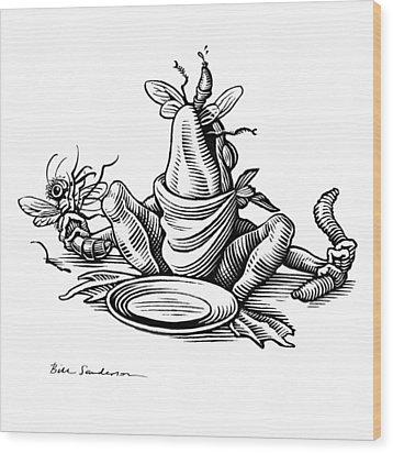 Greedy Frog, Conceptual Artwork Wood Print by Bill Sanderson